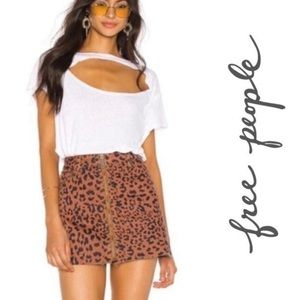New Free People zip up mini skirt cheetah